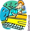 Vector Clip Art graphic  of a Piano Tuner
