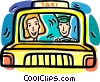 Vector Clip Art graphic  of a people in a taxi