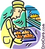 Vector Clip Art picture  of a baker with a tray of bread