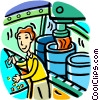 Vector Clip Art graphic  of an Assembly Lines