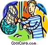 Vector Clip Art graphic  of a Boy with catch
