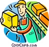 man working in a stockroom Vector Clipart image