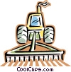 Vector Clip Art image  of a tractor plowing a field