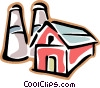 red barn with silo Vector Clipart graphic