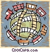 trains and train tracks  crossing the globe Vector Clipart graphic