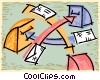 Vector Clipart image  of a envelopes being delivered to