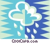 Vector Clip Art graphic  of a rain cloud with rain