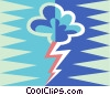 Vector Clipart graphic  of a rain cloud with lightning bolt