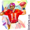 Football player throwing ball Vector Clip Art image