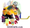 Vector Clip Art graphic  of a Hockey player