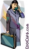 Vector Clip Art image  of a businesswoman with cell phone