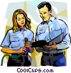 Vector Clip Art image  of a man and woman looking into a