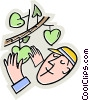 Man picking apples of off the tree Vector Clip Art picture