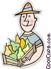 Vector Clipart picture  of a farmer with a box of pears