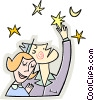 Couple hugging under the stars Vector Clipart graphic