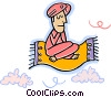 Vector Clipart graphic  of a Man on magic carpet