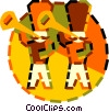 Vector Clipart illustration  of a trumpet players