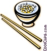 Vector Clip Art image  of a chopsticks with rice