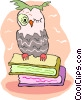 Vector Clipart image  of a owl sitting on books