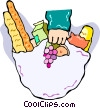 Vector Clip Art picture  of a bag full of groceries