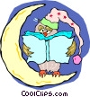owl reading a book Vector Clipart graphic