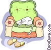 Vector Clip Art graphic  of a cat sleeping on a chair