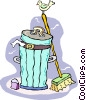 trash can and broom Vector Clipart picture