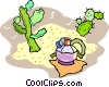 desert, cactus and canteen Vector Clipart picture