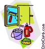 Vector Clip Art graphic  of a window washing supplies