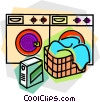 Vector Clipart graphic  of a laundry machines with laundry
