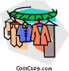clothes on a clothes rack at the dry cleaners Vector Clipart graphic