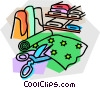 cutting fabric Vector Clipart illustration