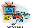 television and hair dryer Vector Clip Art image