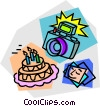 camera, birthday cake pictures Vector Clipart picture