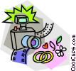 camera with wedding rings Vector Clipart illustration
