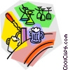 Vector Clipart image  of a draft machine in a bar