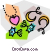 Vector Clip Art graphic  of a necklace and earrings