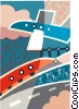 train and plane Vector Clip Art picture