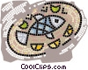 Vector Clipart image  of a fish platter
