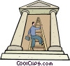 Vector Clip Art image  of a climbing the corporate ladder