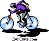 Vector Clip Art image  of a bike rider
