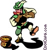 Leprechaun playing the flute Vector Clip Art picture