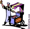 hotdog vendor Vector Clip Art graphic
