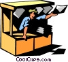 Vector Clip Art graphic  of a news stand