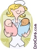 nurse with babies Vector Clipart picture