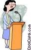 woman speaking at a podium Vector Clip Art picture