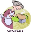 Vector Clip Art graphic  of a baking bread