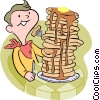 Vector Clipart illustration  of a boy eating pancakes