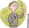 Vector Clipart illustration  of a businessman flipping a coin