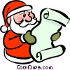 Vector Clipart image  of a Santa reading his list